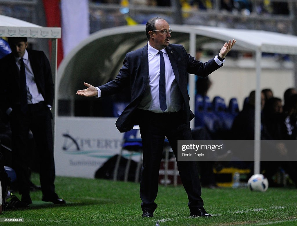 Real Madrid manager Rafa Benitez reacts during the Copa del Rey Round of 32 First Leg match between Cadiz and Real Madrid at Ramon de Carranza...