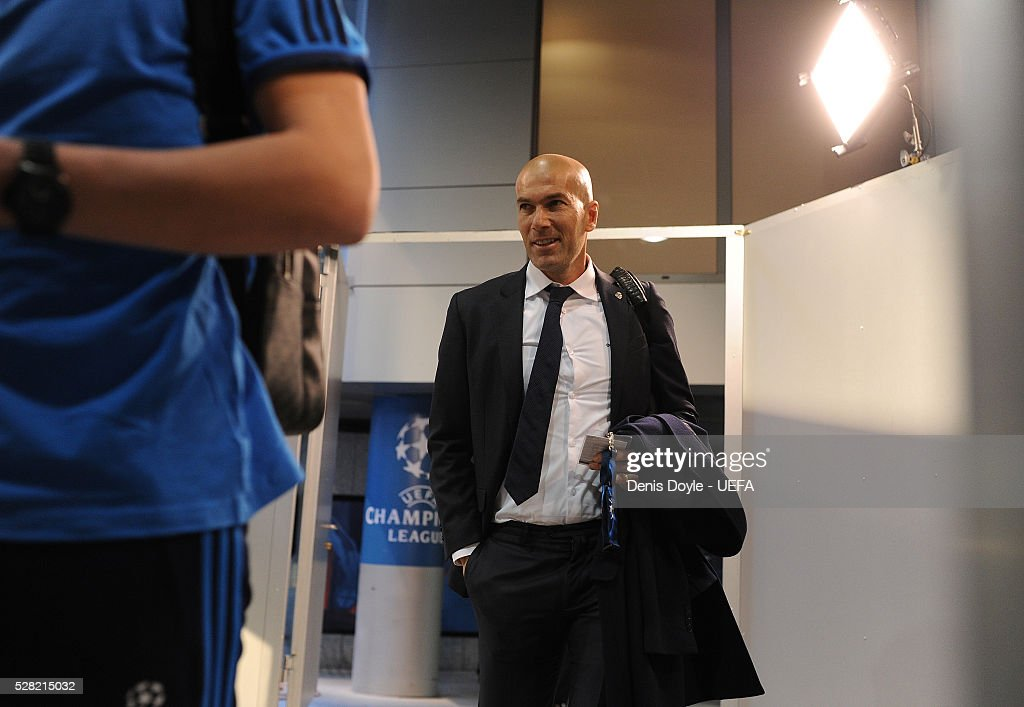 Real Madrid manager <a gi-track='captionPersonalityLinkClicked' href=/galleries/search?phrase=Zinedine+Zidane&family=editorial&specificpeople=172012 ng-click='$event.stopPropagation()'>Zinedine Zidane</a> arrives at the Santiago Bernabeu stadium ahead of the UEFA Champions League Semi Final second leg match between Real Madrid and Manchester City FC at Estadio Santiago Bernabeu on May 4, 2016 in Madrid, Spain.