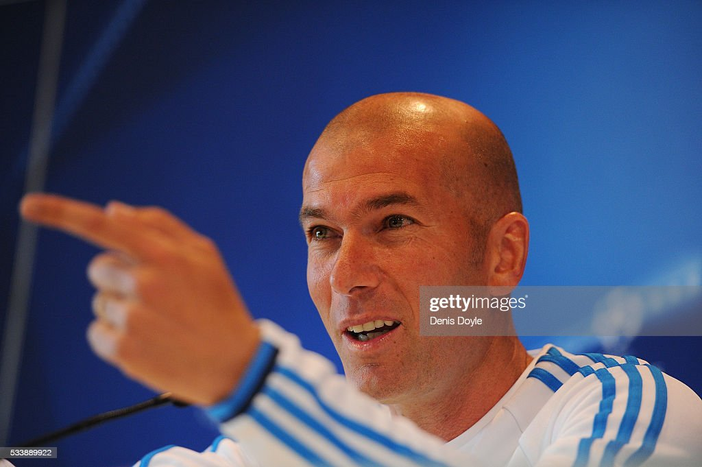 Real Madrid manager <a gi-track='captionPersonalityLinkClicked' href=/galleries/search?phrase=Zinedine+Zidane&family=editorial&specificpeople=172012 ng-click='$event.stopPropagation()'>Zinedine Zidane</a> attends a press conference during the Real Madrid Open Media Day ahead of the UEFA Champions League Final against Club Atletico Madrid at Valdebebas training ground on May 24, 2016 in Madrid, Spain.