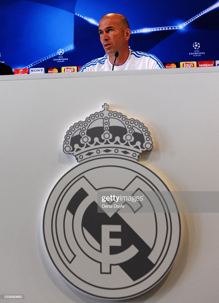 Real Madrid manager Zinedine Zidane attends a press conference during the Real Madrid Open Media Day ahead of the UEFA Champions League Final against Club Atletico Madrid at Valdebebas training ground on May 24, 2016 in Madrid, Spain.
