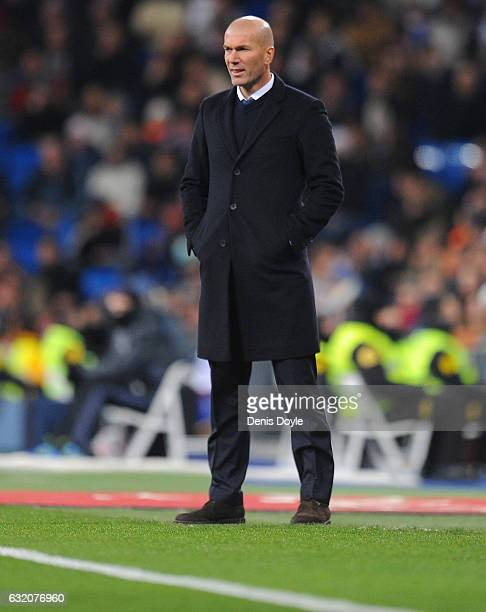 Real Madrid manager Zinedine Zidane looks on during the Copa del Rey Quarter Final First Leg match between Real Madrid CF and Celta Vigo at Bernabeu...