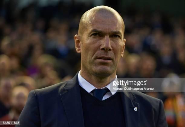 Real Madrid manager Zinedine Zidane looks on prior to the La Liga match between Valencia CF and Real Madrid at Mestalla Stadium on February 22 2017...