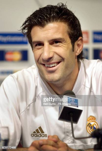 Real Madrid midfielder Luis Figo during a press conference at Hampden Park stadium Glasgow Real Madrid play Bayern Leverkusen in the final of the...