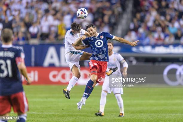 Real Madrid midfielder Marcos Llorente and MLS AllStar and Montreal Impact Midfielder Ignacio Piatti battle for a header in the first half during a...
