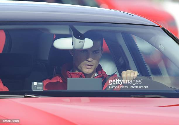 Real Madrid player Cristiano Ronaldo attends the car handover of Audi at the Ciudad Deportiva del Real Madrid on December 1 2014 in Madrid Spain