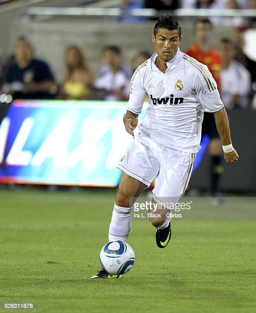 Real Madrid player Cristiano Ronaldo drives for the goal during to the Herbalife World Football Challenge Friendly match between LA Galaxy and Real...