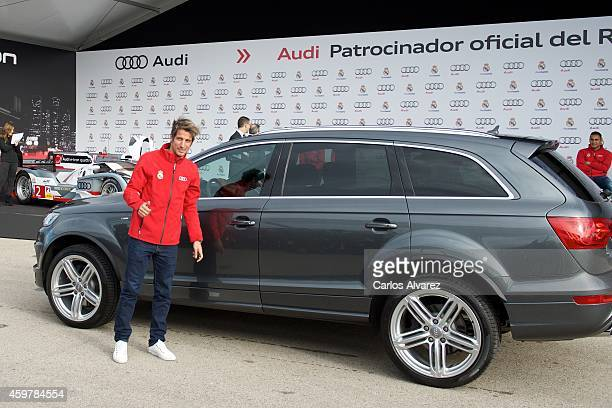 Real Madrid player Fabio Coentrao receives a new Audi car at the Ciudad Deportiva del Real Madrid on December 1 2014 in Madrid Spain