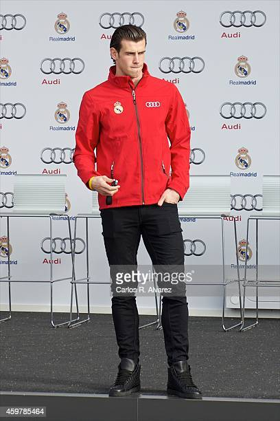 Real Madrid player Gareth Bale receives a new Audi Q7 at the Ciudad Deportiva del Real Madrid on December 1 2014 in Madrid Spain