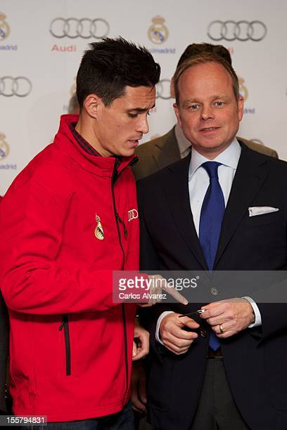 Real Madrid player Jose Callejon receives the keys of the new Audi car during the presentation of Real Madrid's new cars made by Audi at the Jarama...