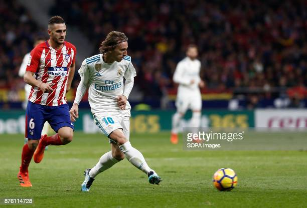 Real Madrid player Modric in action during the Spanish Liga football match between Atlético de Madrid and Real Madrid