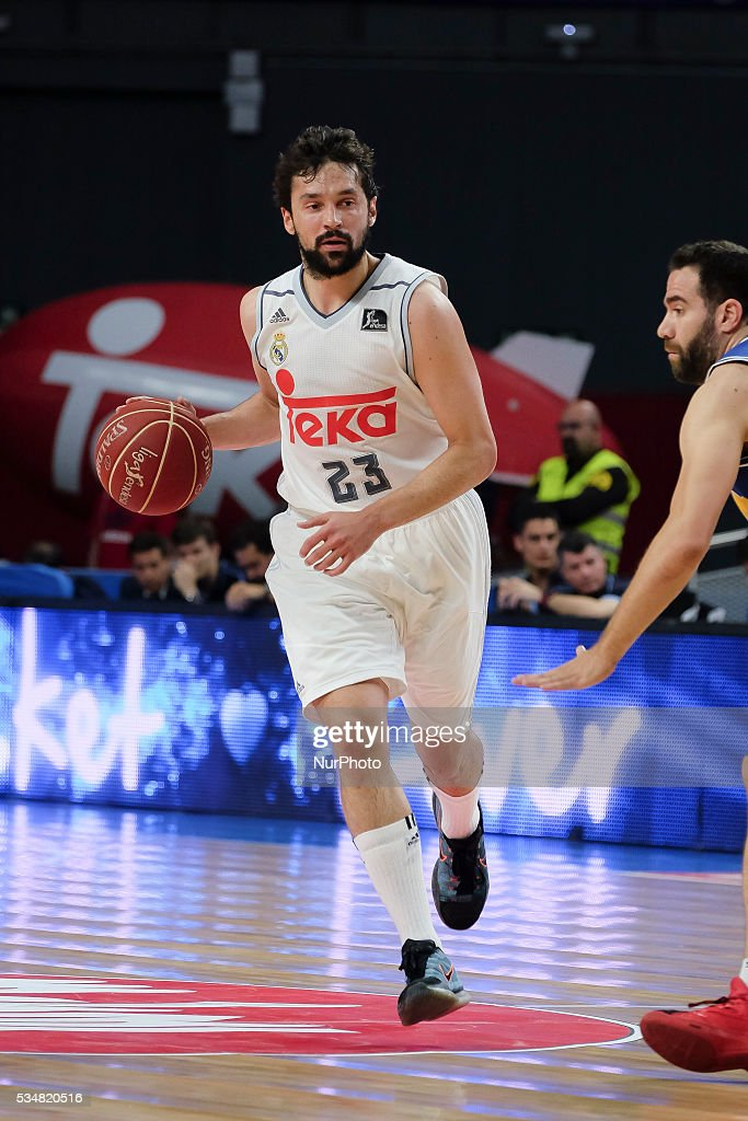 Real Madrid player of <a gi-track='captionPersonalityLinkClicked' href=/galleries/search?phrase=Sergio+Llull&family=editorial&specificpeople=4537823 ng-click='$event.stopPropagation()'>Sergio Llull</a> during the basketball game between Real Madrid vs UCAM Murcia quarterfinal playoffs of the ACB league held at the Sports Palace of Madrid, Spain on May 27, 2016.