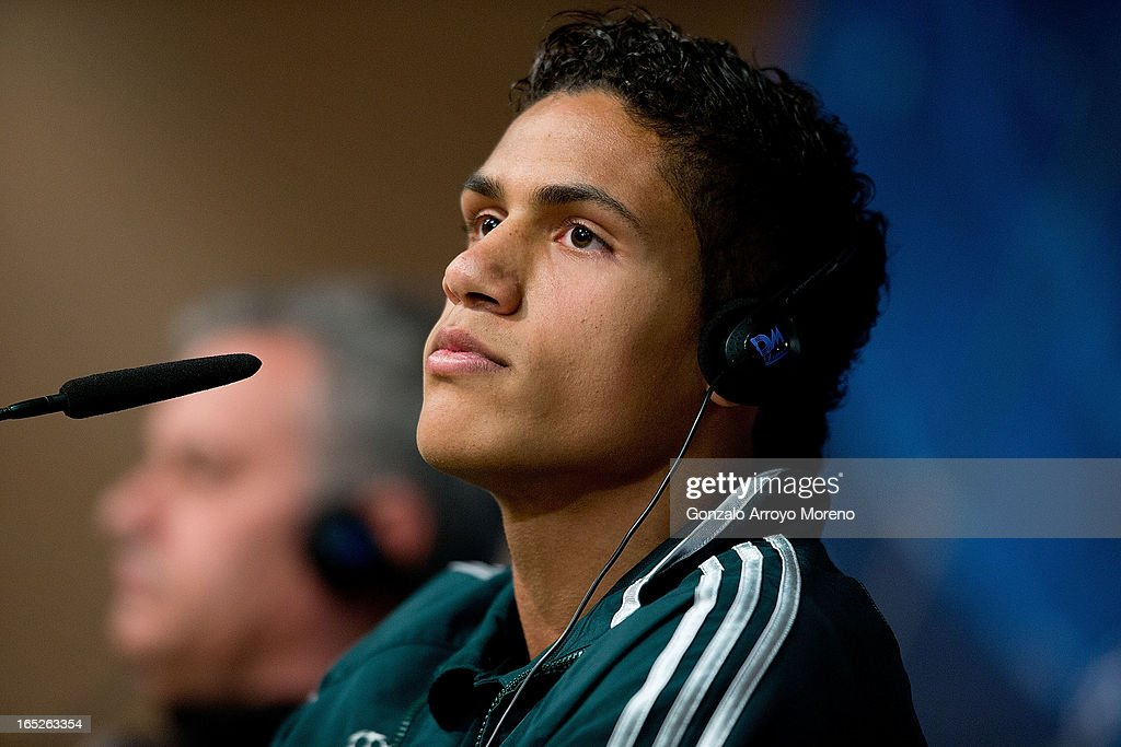 Real Madrid player <a gi-track='captionPersonalityLinkClicked' href=/galleries/search?phrase=Raphael+Varane&family=editorial&specificpeople=7365948 ng-click='$event.stopPropagation()'>Raphael Varane</a> listen to questions from the media during a press conference ahead of the UEFA Champions League Quarterfinal match between Real Madrid and Galatasaray AS at Santiago Bernabeu Stadium on April 2, 2013 in Madrid, Spain.