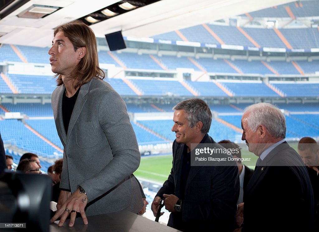 Real Madrid player Sergio Ramos and coach Jose Mourinho attend the Real Madrid Resort Island presentation at Estadio Santiago Bernabeu on March 22, 2012 in Madrid, Spain.