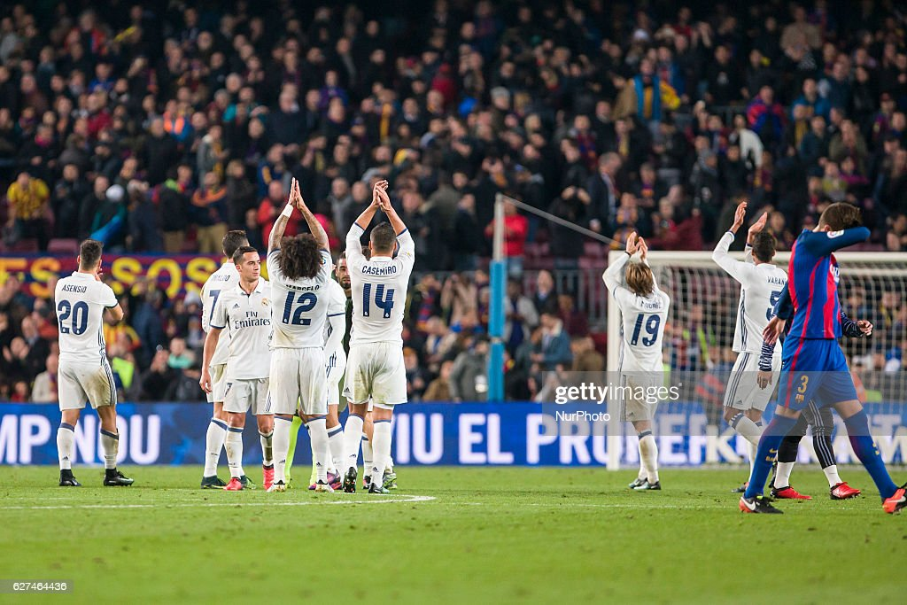 Real Madrid players at the end of the match between FC Barcelona vs Real Madrid for the round 14 of the Liga Santander played at Camp Nou Stadium on...