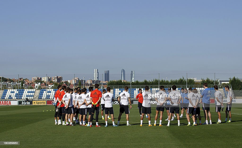 Real Madrid players attend a training session at Valdebebas training ground on September 12, 2013 in Madrid, Spain.