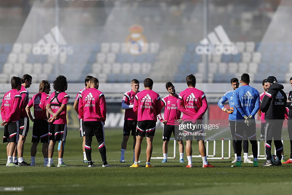 Real Madrid players attend a training session at Valdebebas training ground on March 4, 2015 in Madrid, Spain.