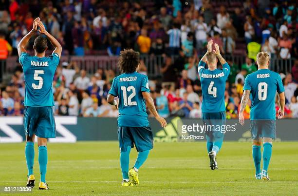 Real Madrid players celebrartion during the spanish Super Cup match between FC Barcelona v Real Madrid in Barcelona on August 13 2017