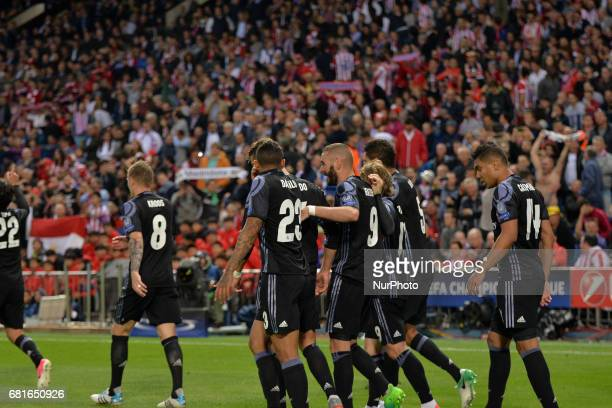 Real Madrid players celebrate a goal during the UEFA Champions League semifinal second leg football match Club Atletico de Madrid vs Real Madrid CF...