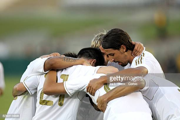 Real Madrid players celebrate goal during the Herbalife World Football Challenge Friendly match between LA Galaxy and Real Madrid Real Madrid won the...