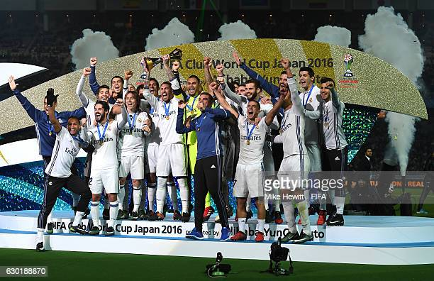 Real Madrid players celebrate victory following the FIFA Club World Cup Final match between Real Madrid and Kashima Antlers at International Stadium...