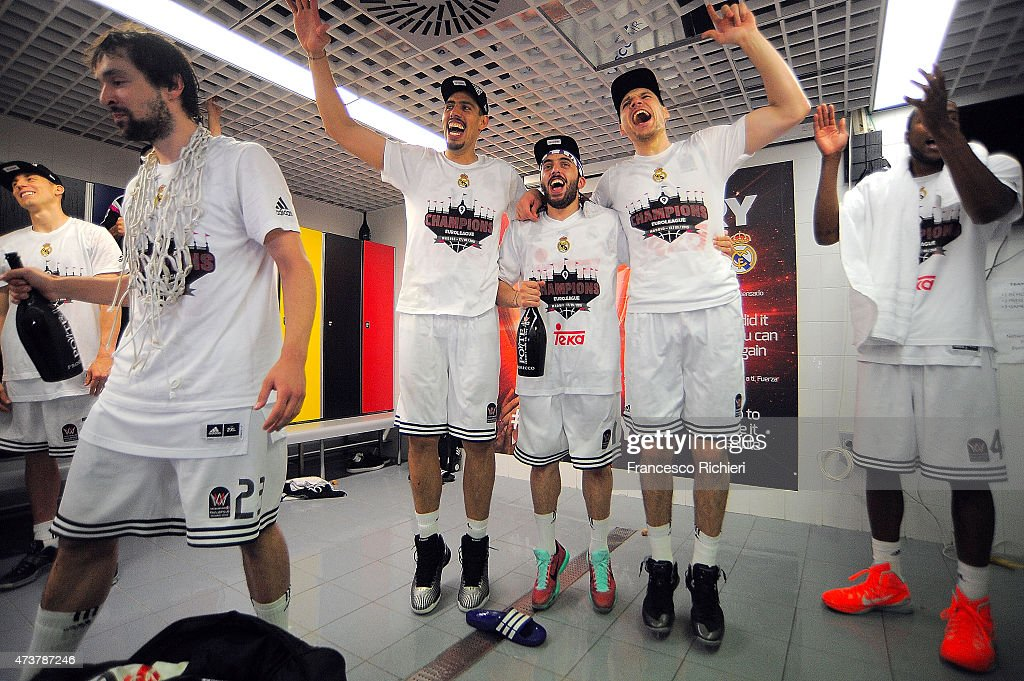 Real Madrid players celebrate winning after the Turkish Airlines Euroleague Final Four Madrid 2015 Champion Trophy Ceremony at Barclaycard Center on...