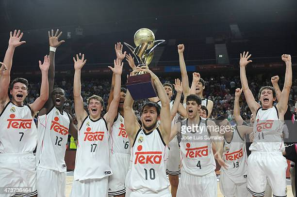 Real Madrid players celebrates at the end of the Adidas Next Generation Tournament Final Game between Real Madrid vs Crvena Zvezda at Barclaycard...