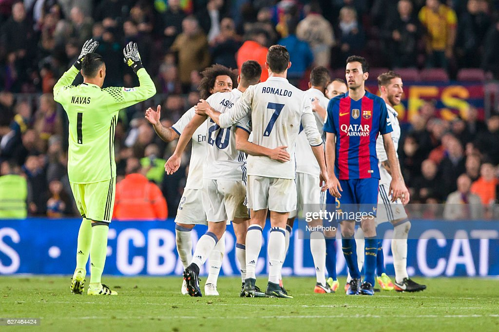 Real Madrid players celebrates the tie at the end of the match between FC Barcelona vs Real Madrid for the round 14 of the Liga Santander played at...