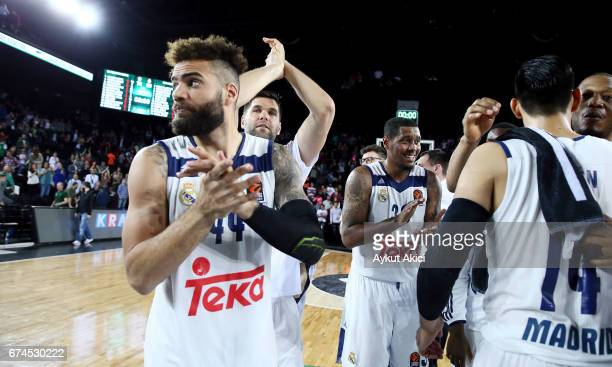 Real Madrid players celebrates victory during the 2016/2017 Turkish Airlines EuroLeague Playoffs leg 4 game between Darussafaka Dogus Istanbul v Real...