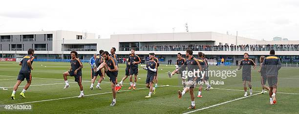 Real Madrid players during the Real Madrid UEFA Champions League Final Media Day at Valdebebas training ground on May 20 2014 in Madrid Spain