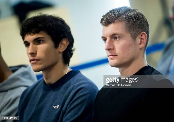 Real Madrid players Jesus Vallejo and Toni Kroos during the Real Madrid and Exness partnership presentation at Estadio Santiago Bernabeu on October...