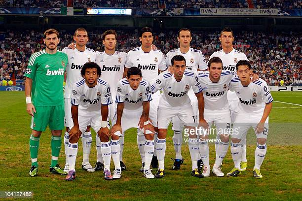 Real Madrid players line up before the UEFA Champions League Group G match between Real Madrid and Ajax at Estadio Santiago Bernabeu on September 15...