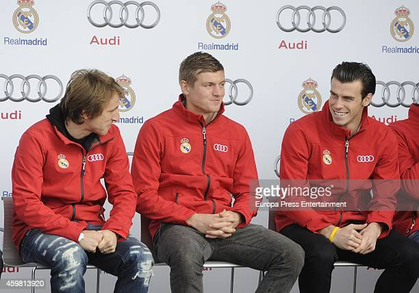 Real Madrid players Luka Modric Toni Kroos and Gareth Bale attend the car handover of Audi at the Ciudad Deportiva del Real Madrid on December 1 2014...