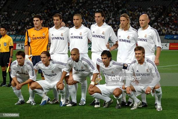 Real Madrid players Michael Owen Michel Salgado Roberto Carlos Raul Gonzales David Backham Iker Casillas Ivan Helguera Ronaldo Francisco Pavon Guti...