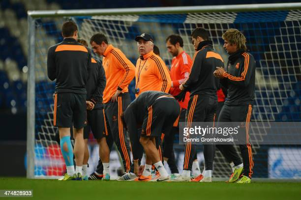 Real Madrid players practice during a training session ahead of the Champions League match between FC Schalke 04 and Real Madrid at VeltinsArena on...