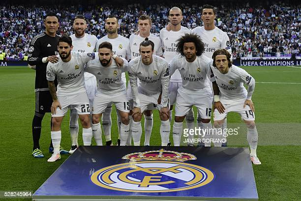 Real Madrid players Real Madrid's Costa Rican goalkeeper Keylor Navas Real Madrid's defender Sergio Ramos Real Madrid's forward Jese Rodriguez Real...