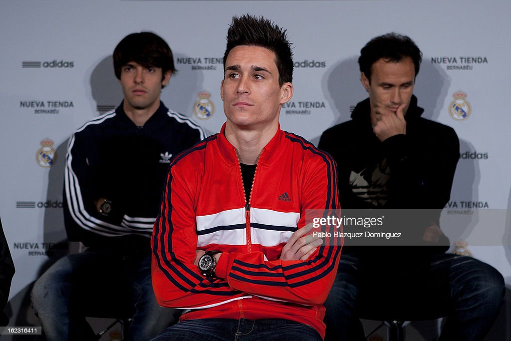 Real Madrid players Ricardo Kaka, Jose Callejon and <a gi-track='captionPersonalityLinkClicked' href=/galleries/search?phrase=Ricardo+Carvalho&family=editorial&specificpeople=209354 ng-click='$event.stopPropagation()'>Ricardo Carvalho</a> attend Adidas Store Re-Opening at Estadio Santiago Bernabeu on February 21, 2013 in Madrid, Spain.