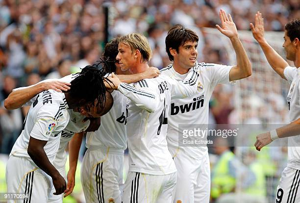 Real Madrid players Royston Drenthe Guti Kaka and Cristiano Ronaldo during the La Liga match between Real Madrid and Tenerife at Estadio Santiago...