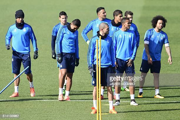Real Madrid players take part in a training session on March 7 2016 at Real Madrid Sport City in Madrid on the eve of their UEFA Champions League...