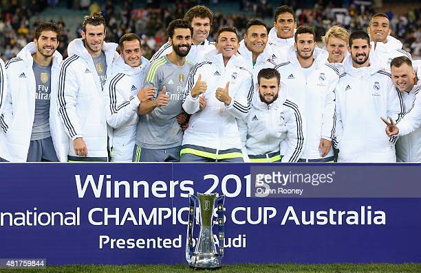 Real Madrid pose after winning the International Champions Cup match between Real Madrid and Manchester City at Melbourne Cricket Ground on July 24...