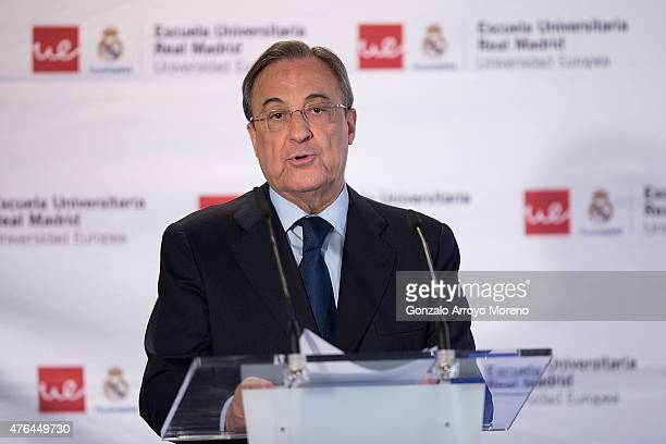 Real Madrid President Florentino Perez gives as speech as he attends the 7th edition of the 'Catedra Real Madrid' Project at Santiago Bernabeu...