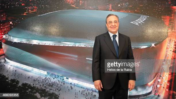 Real Madrid President Florentino Perez poses during the presentation of the tender winners and the project details to build a new football stadium at...