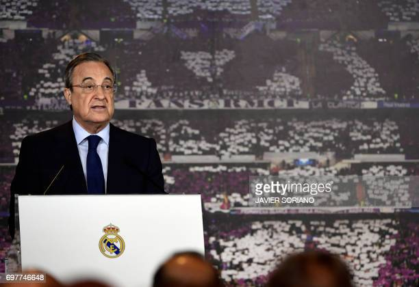 Real Madrid president Florentino Perez speaks during a press conference after his reelection for the club's presidency at the Santiago Bernabeu...