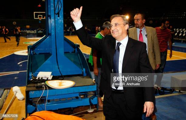 Real Madrid president Florentino Perez waves to the crowd during the ACB Semifinal Game 2 match between Real Madrid and Tau Ceramica on June 4 2009...