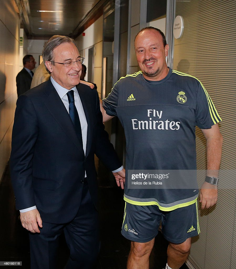 Real Madrid President Florentino Perez Welcomes Back the Players to Pre-Season Training at Valdebebas training ground on July 9, 2015 in Madrid, Spain.
