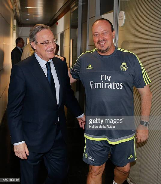 Real Madrid President Florentino Perez Welcomes Back the Players to PreSeason Training at Valdebebas training ground on July 9 2015 in Madrid Spain