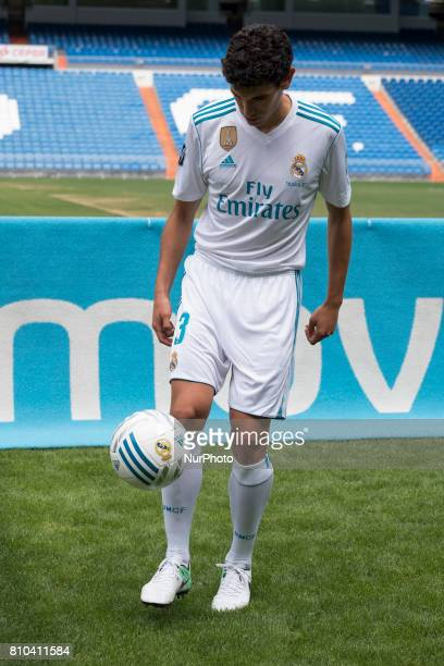Real Madrid soccer player Jesus Vallejo is presented at Bernabeu stadium on July 7 2017 in Madrid Spain