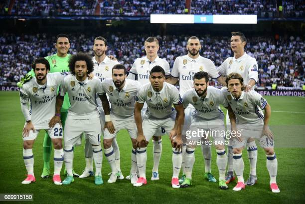 Real Madrid squad Real Madrid's Costa Rican goalkeeper Keylor Navas Real Madrid's defender Sergio Ramos Real Madrid's German midfielder Toni Kroos...