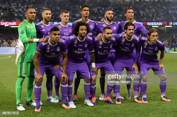Real Madrid team pose for a photograph prior to the UEFA Champions League Final between Juventus and Real Madrid at National Stadium of Wales on June...