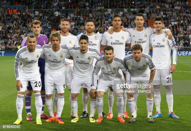 Real Madrid Team Shot Top Row Goalkeeper Iker Casillas Sergio Ramos Xabi Alonso Raphael Varane Cristiano Ronaldo and Alvaro Morata Bottom Row...
