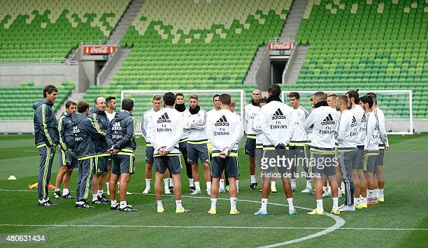 Real Madrid warm up during a training session at AAMI PARK training ground on July 14 2015 in Melbourne Australia